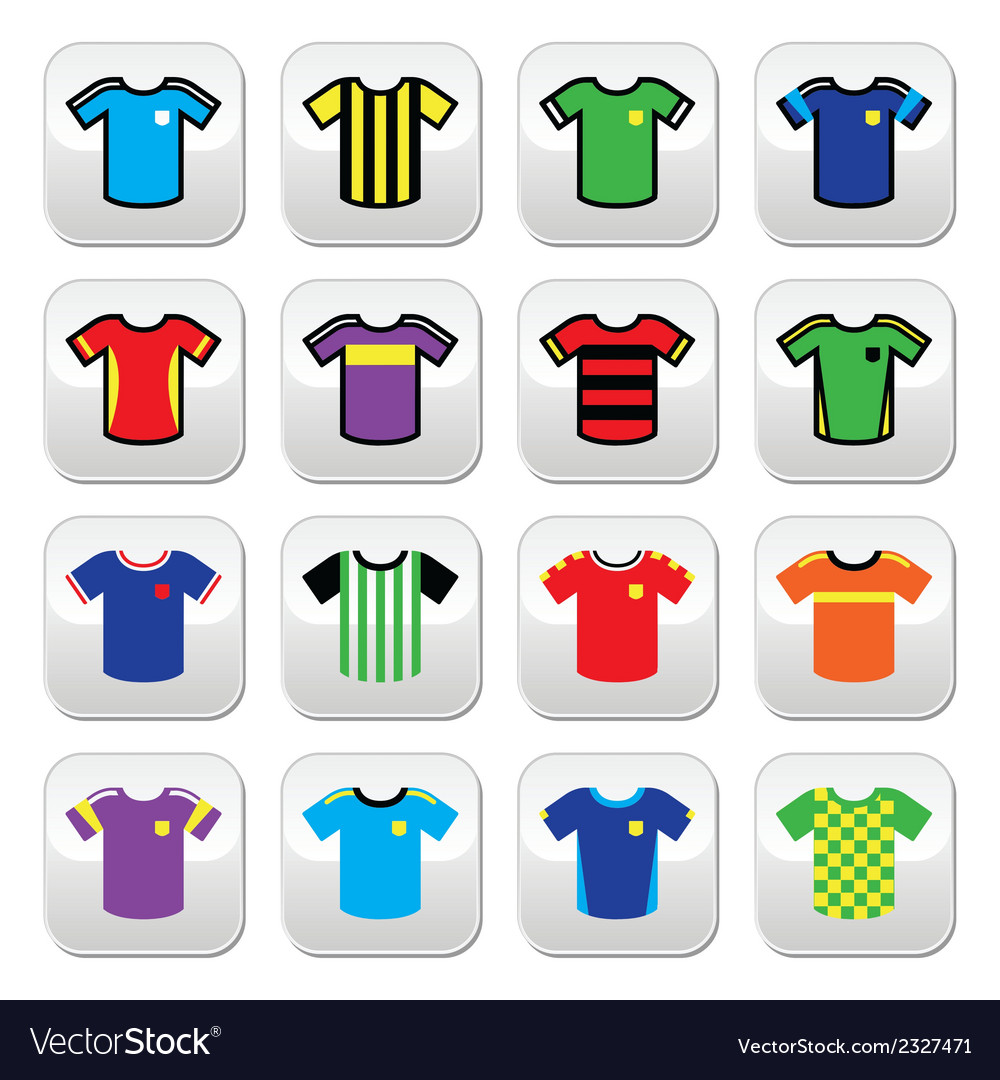 Football jerseys buttons set colour vector | Price: 1 Credit (USD $1)