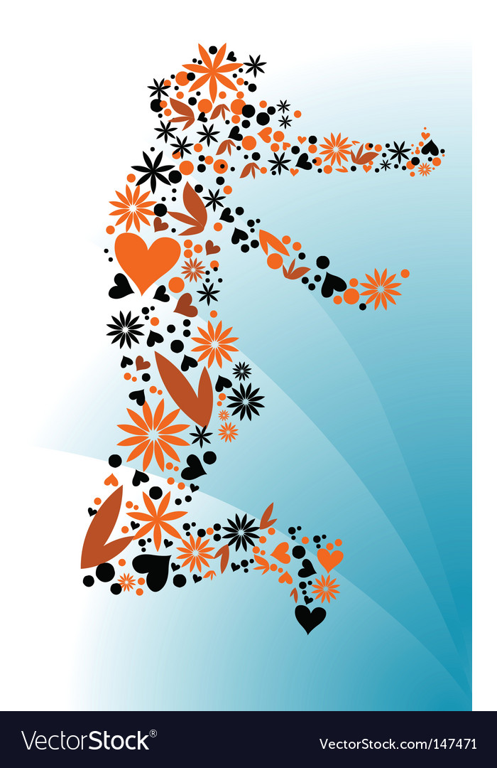 Groovy floral figure outline vector | Price: 1 Credit (USD $1)