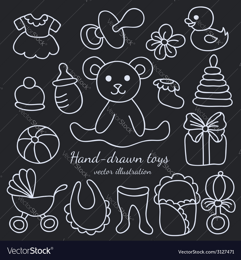 Hand-drawn baby goods and toys set vector | Price: 1 Credit (USD $1)
