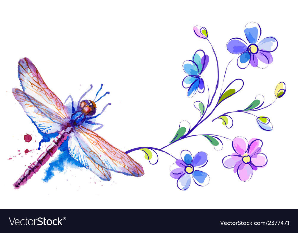 Horizontal background with dragonfly and flowers vector | Price: 1 Credit (USD $1)