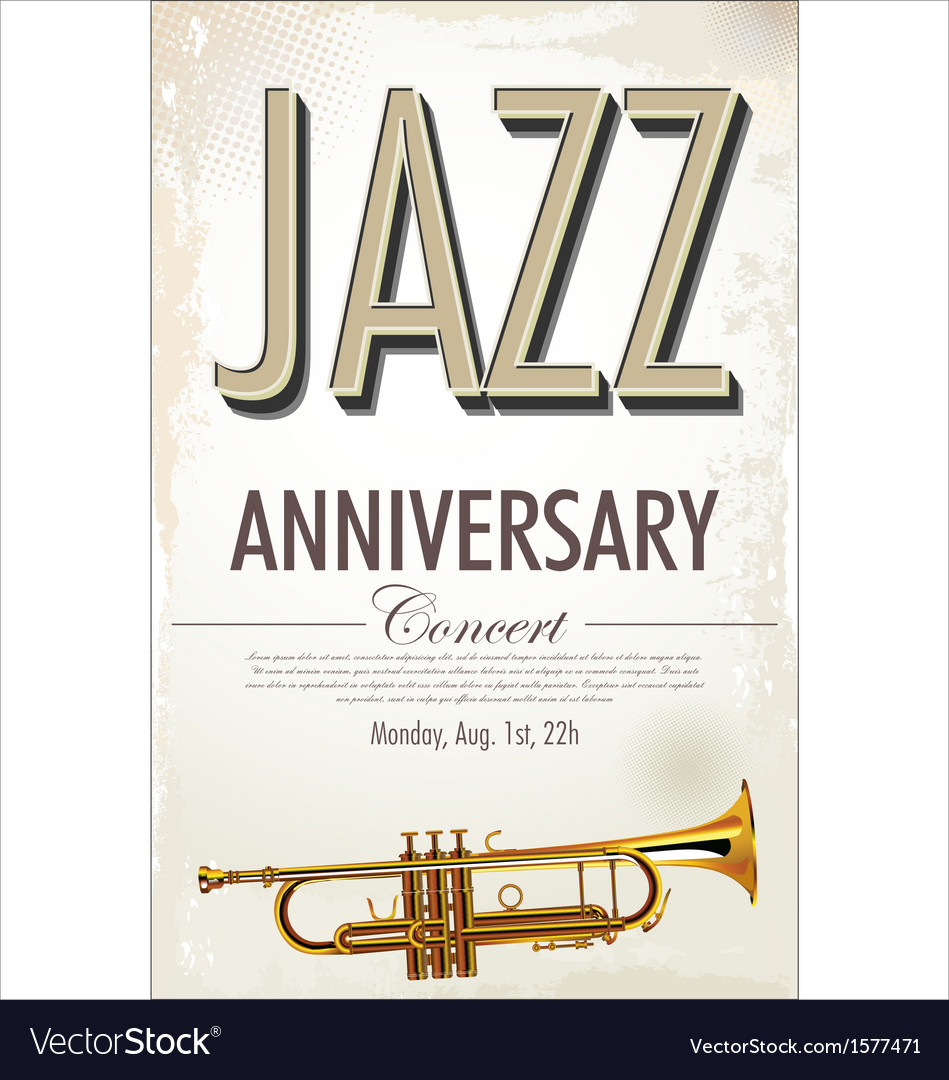 Jazz retro poster vector | Price: 1 Credit (USD $1)