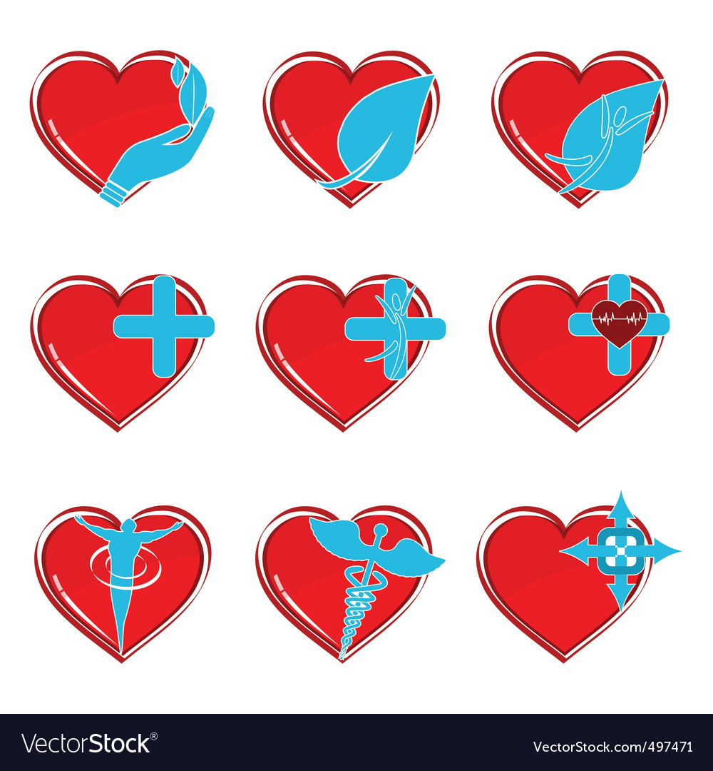 Medical heart icons vector | Price: 1 Credit (USD $1)