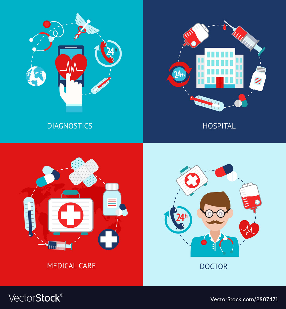 Medical icons flat set vector | Price: 1 Credit (USD $1)