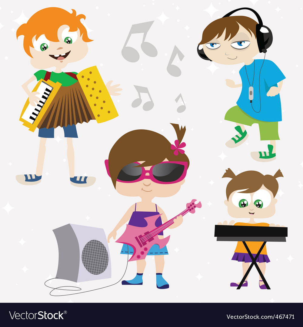 Music kids vector | Price: 3 Credit (USD $3)
