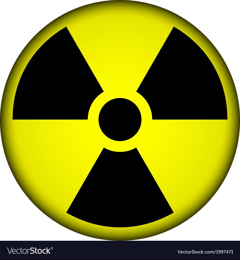 Radiation warning symbol button vector | Price: 1 Credit (USD $1)