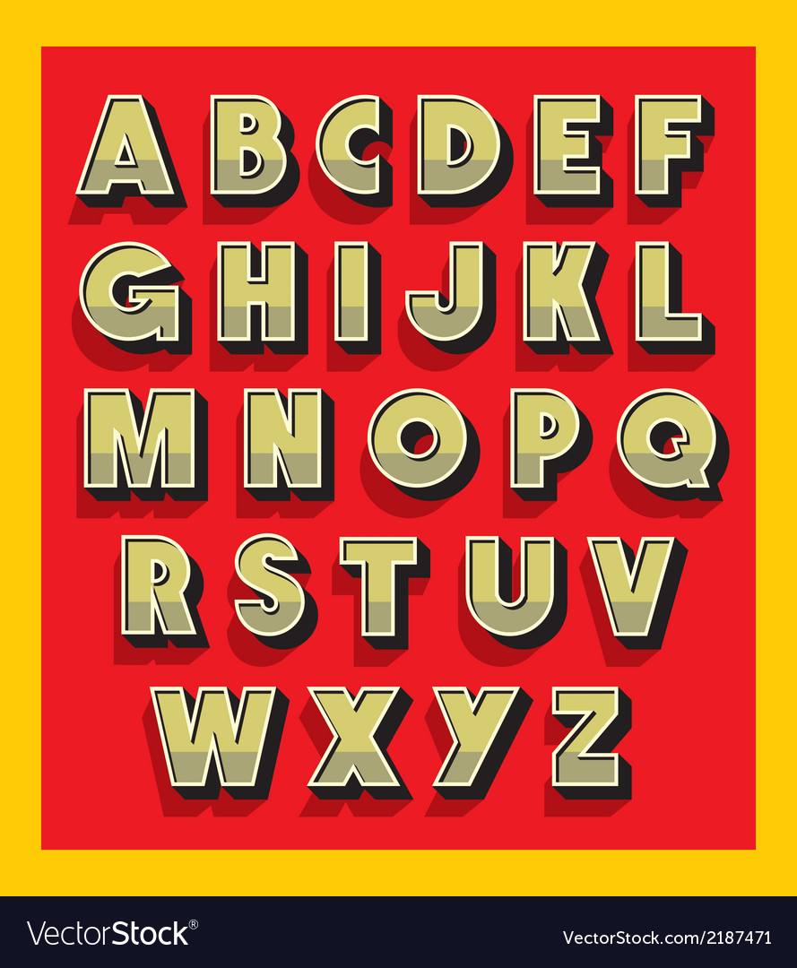Retro vintage font type alphabet vector | Price: 1 Credit (USD $1)