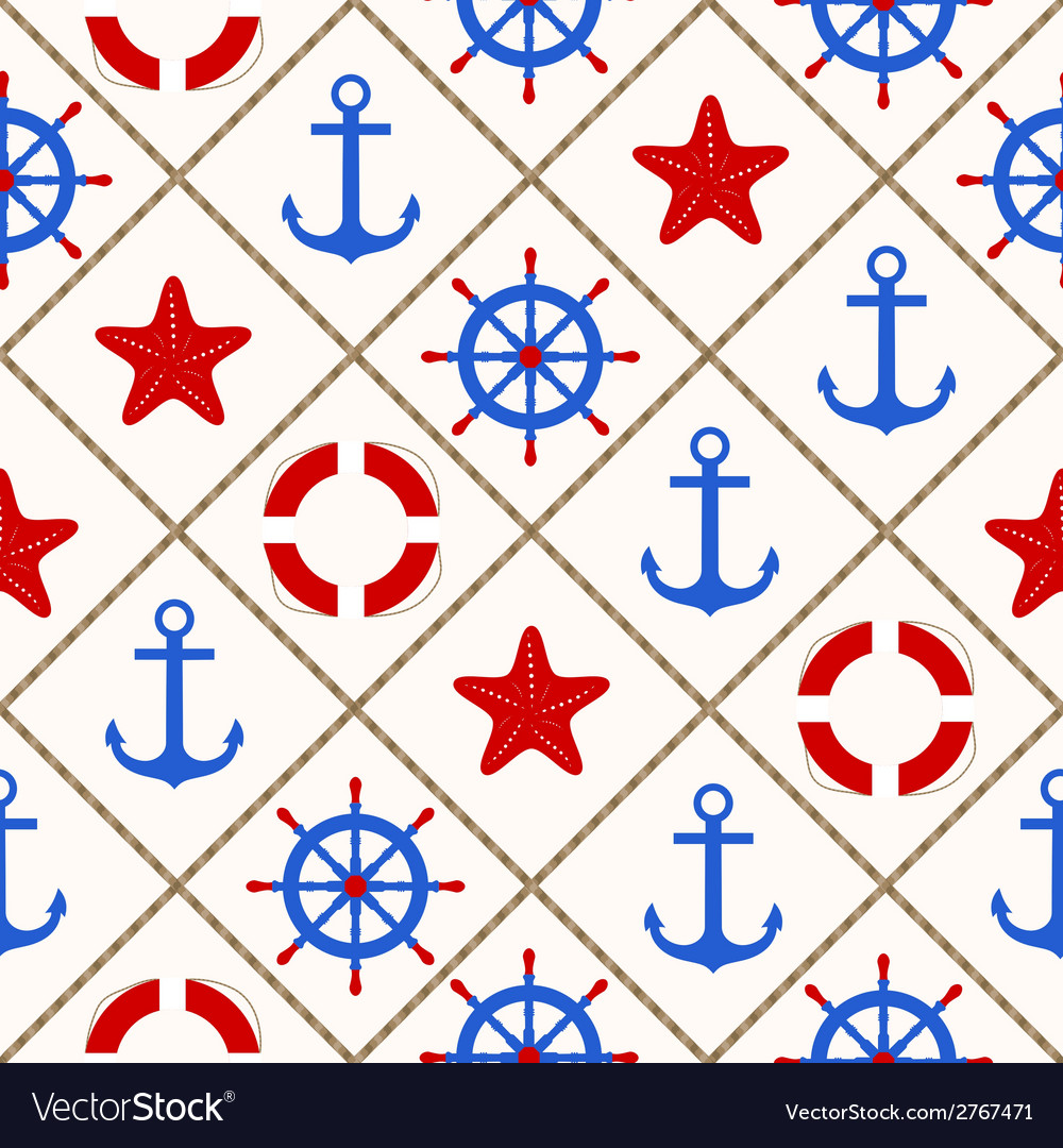 Seamless nautical pattern with sea theme elements vector | Price: 1 Credit (USD $1)
