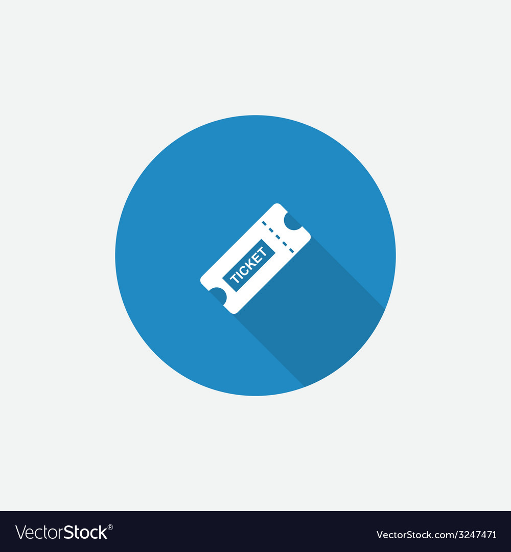 Ticket flat blue simple icon with long shadow vector | Price: 1 Credit (USD $1)