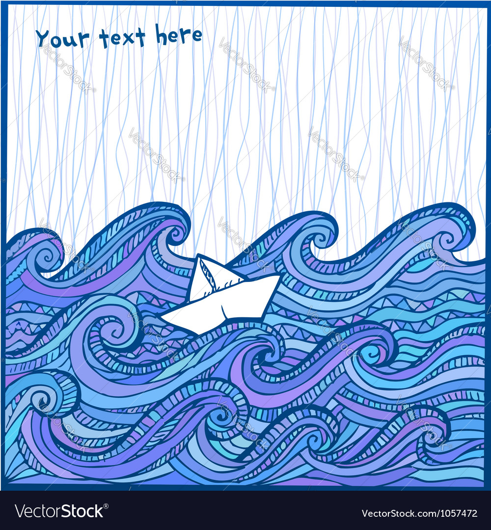 Artistic hand-drawing white sheep in the ocean vector | Price: 1 Credit (USD $1)