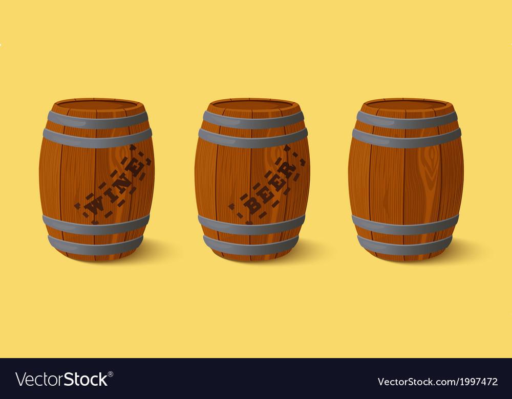 Barrel wooden keg for wine or beer vector | Price: 1 Credit (USD $1)