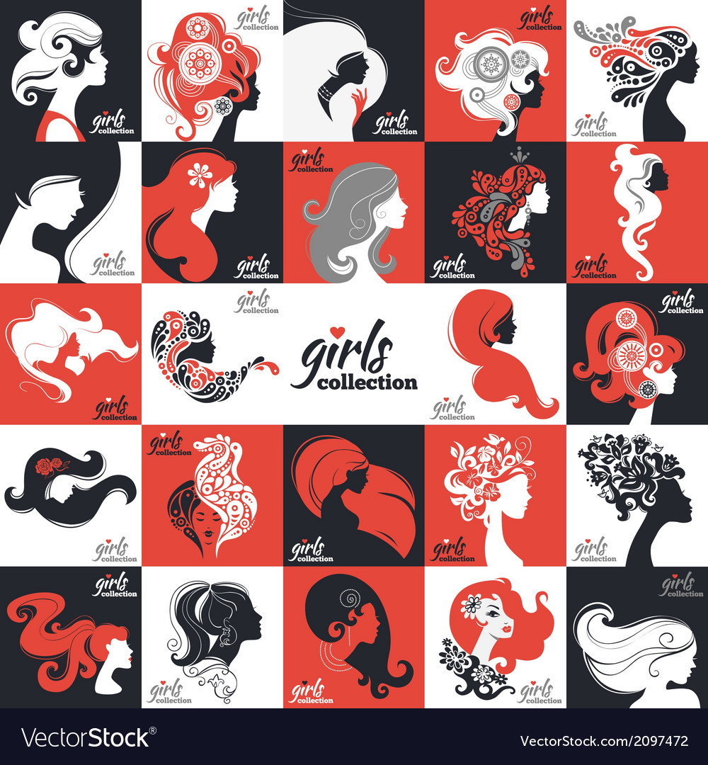 Big set of beautiful women silhouettes vector