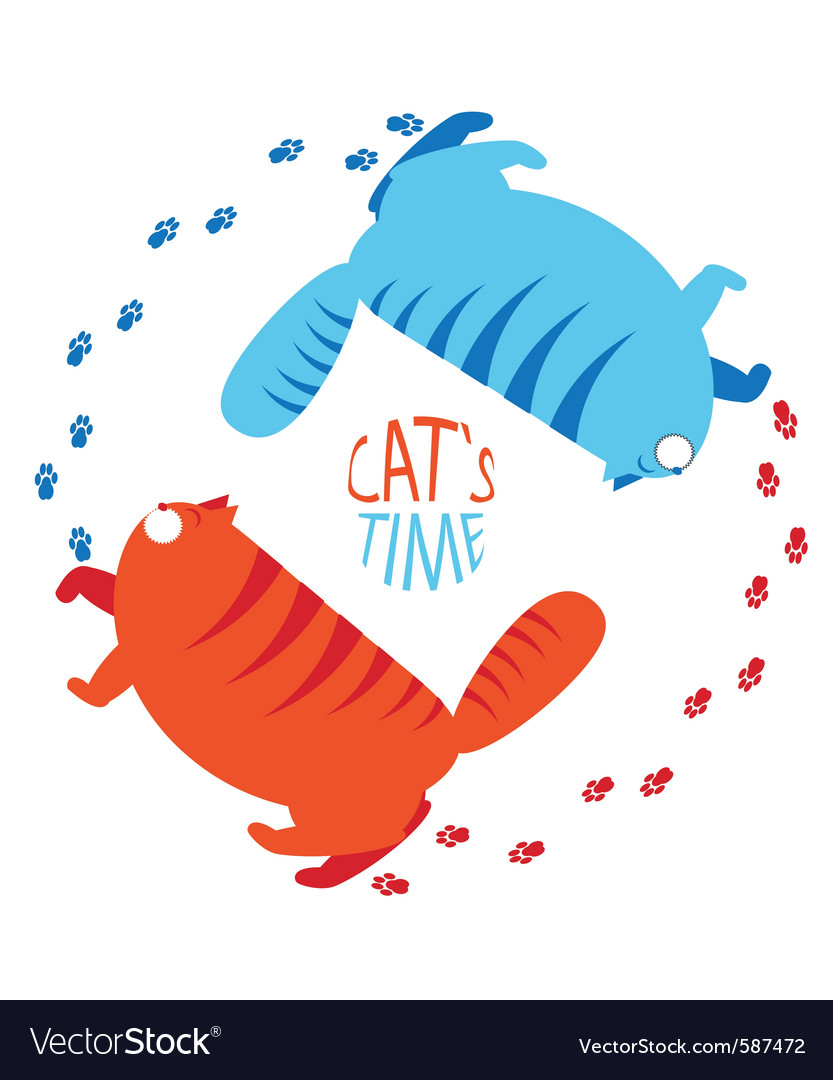 Cats time vector | Price: 1 Credit (USD $1)