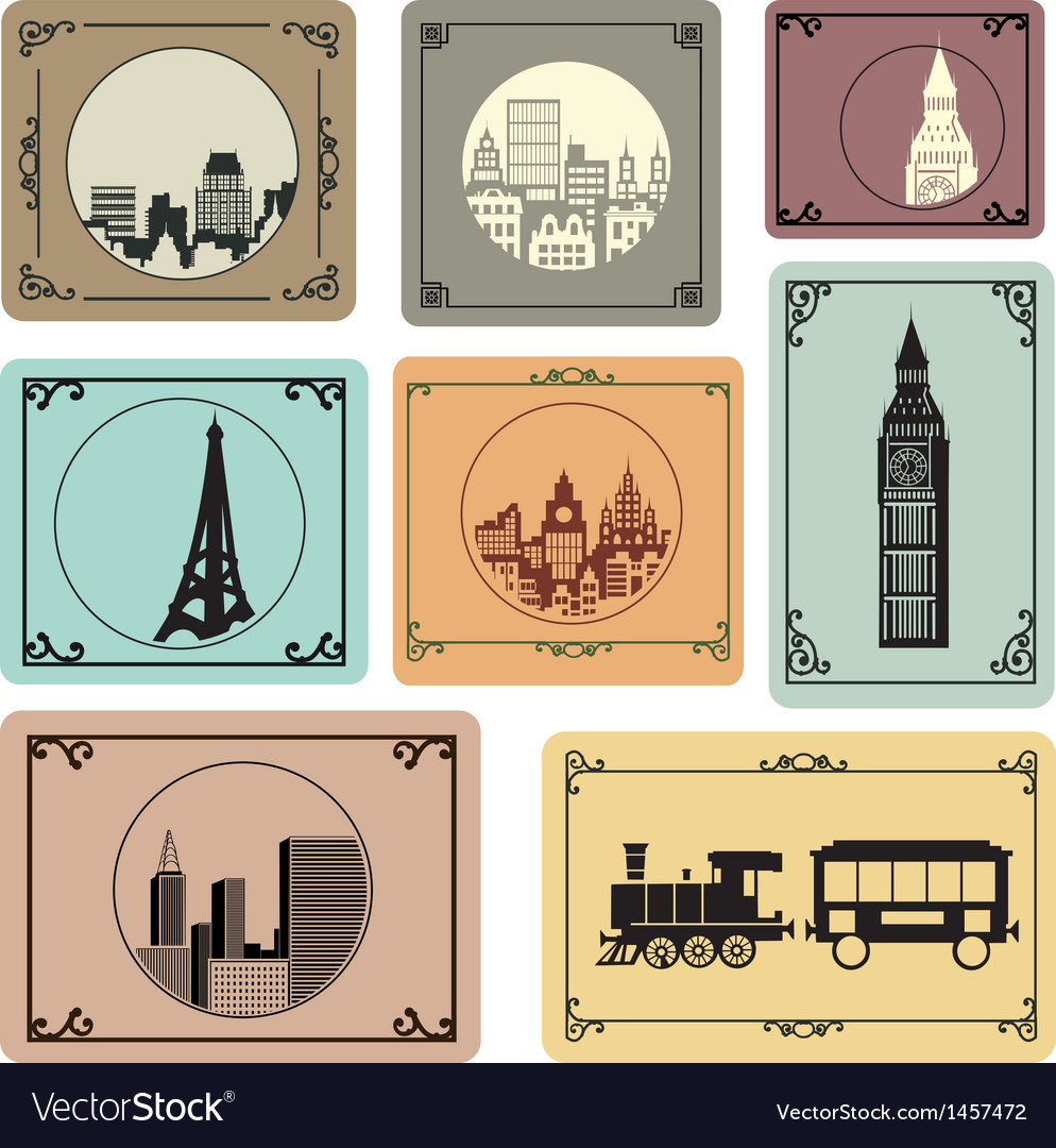 Cities in retro style vector | Price: 1 Credit (USD $1)