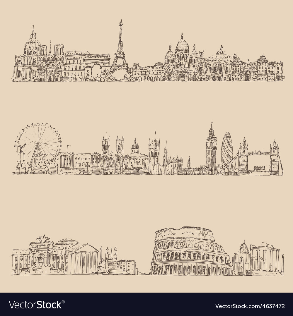 City set london paris rome vintage engraved vector | Price: 1 Credit (USD $1)