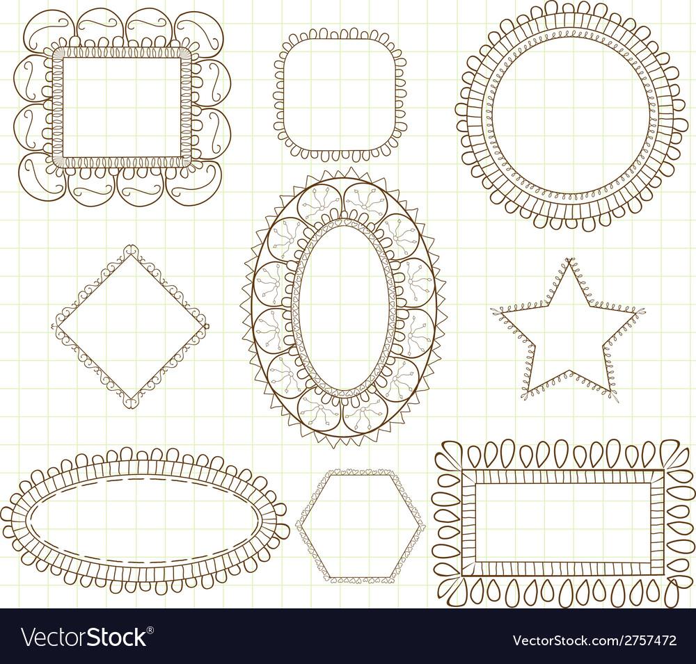 Cute doodle frames vector   Price: 1 Credit (USD $1)