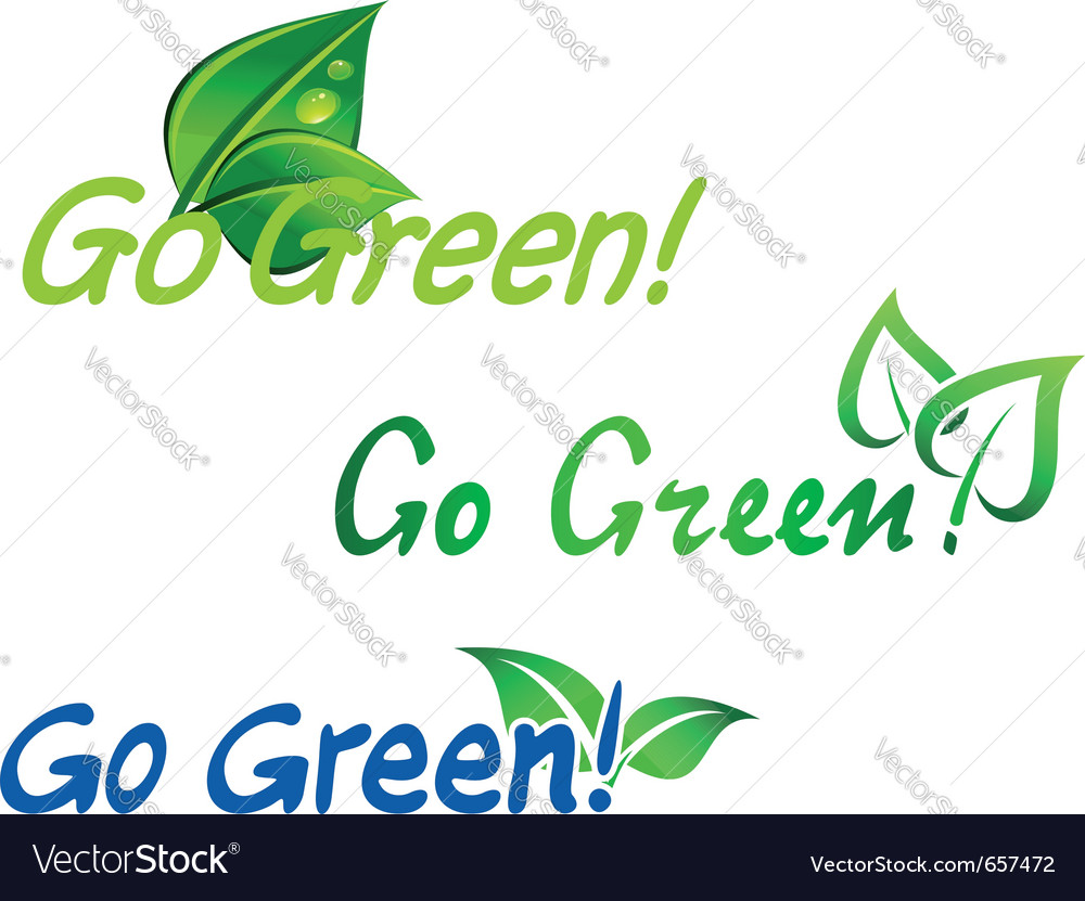 Go green symbols vector | Price: 1 Credit (USD $1)