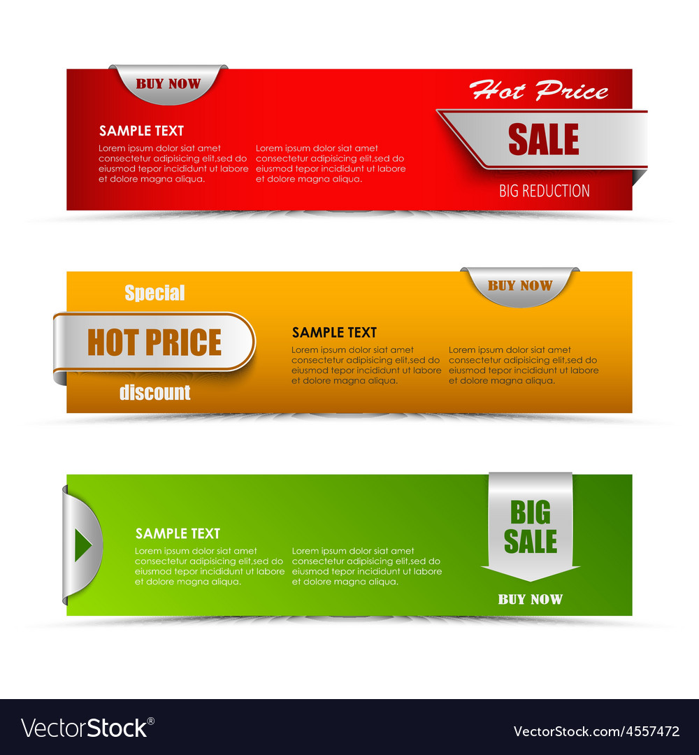 Modern horizontal banners with pointers sale vector | Price: 1 Credit (USD $1)
