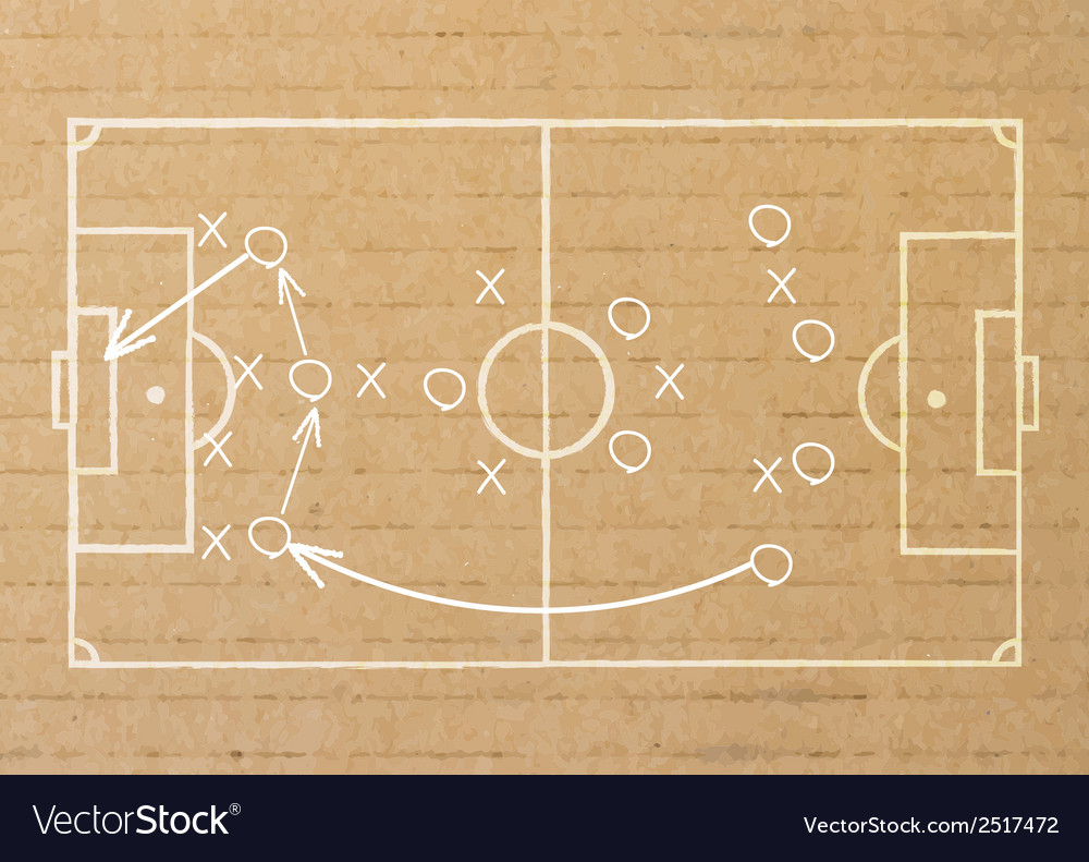 Paper stick drawing a soccer game strategy vector | Price: 1 Credit (USD $1)
