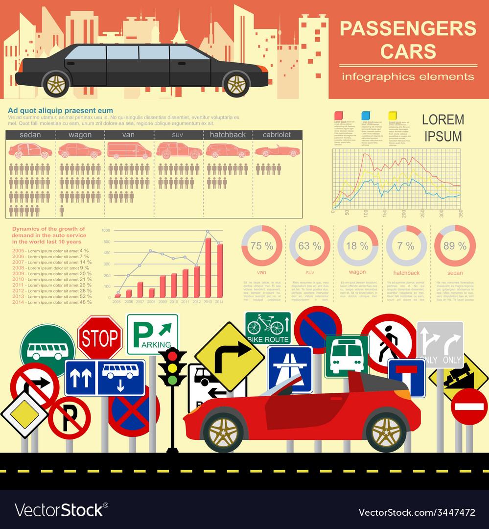 Passenger car transportation infographics vector | Price: 1 Credit (USD $1)