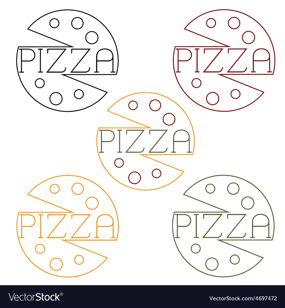 Pizza labels craft line style vector | Price: 1 Credit (USD $1)