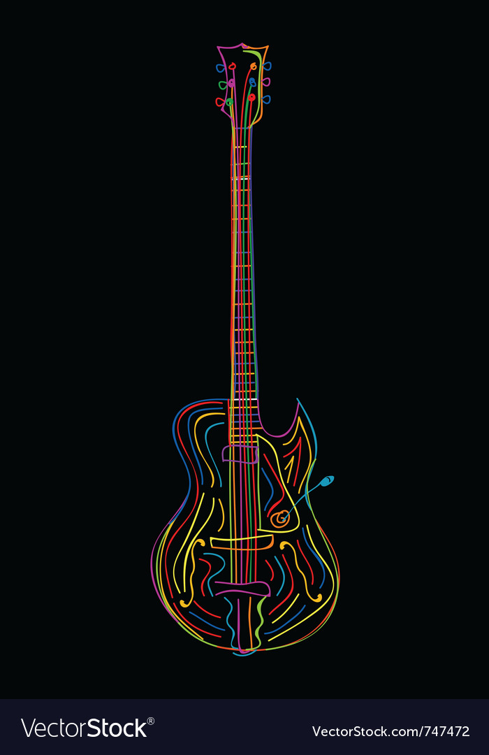 Stylized electric guitar vector | Price: 1 Credit (USD $1)