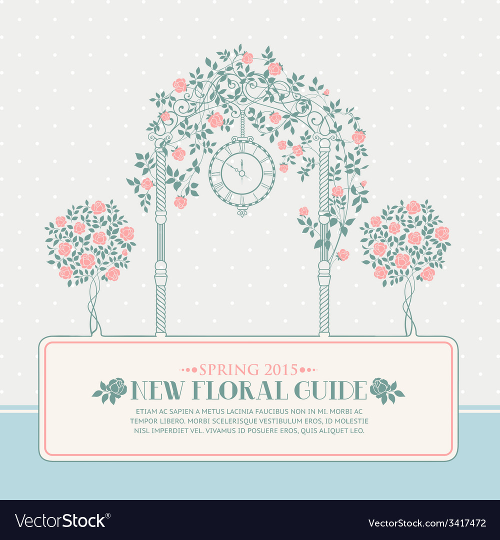 Vintage card with arch and roses vector | Price: 1 Credit (USD $1)