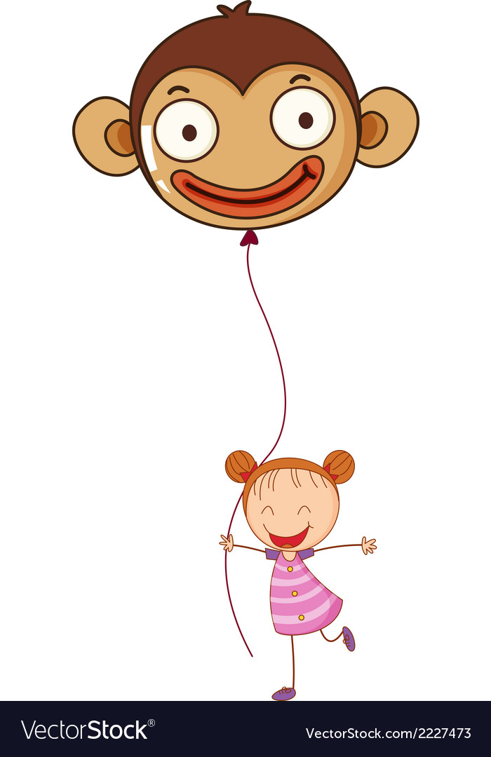 A young girl holding a monkey balloon vector | Price: 1 Credit (USD $1)