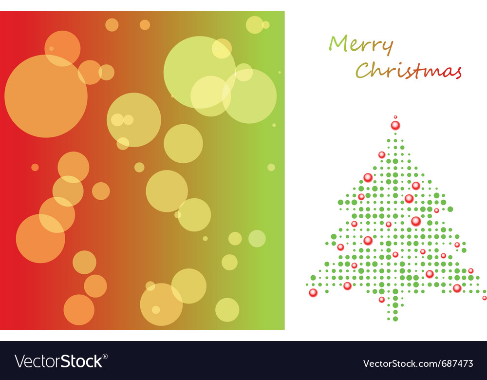 Christmas card with tree of ball and background vector | Price: 1 Credit (USD $1)
