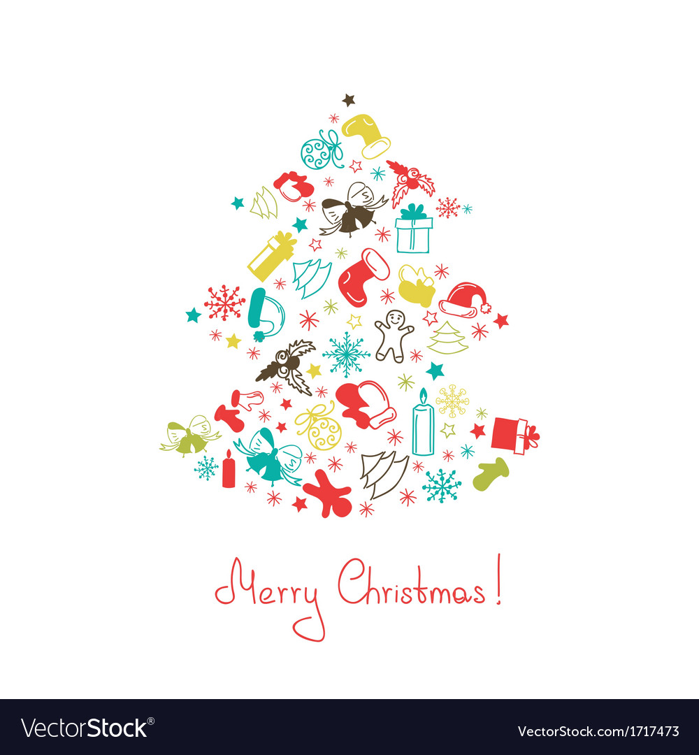 Christmas tree made of elements vector | Price: 1 Credit (USD $1)