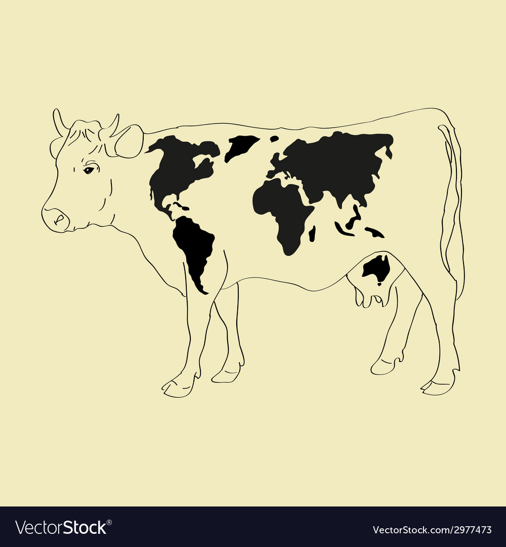 Cow world map vector | Price: 1 Credit (USD $1)
