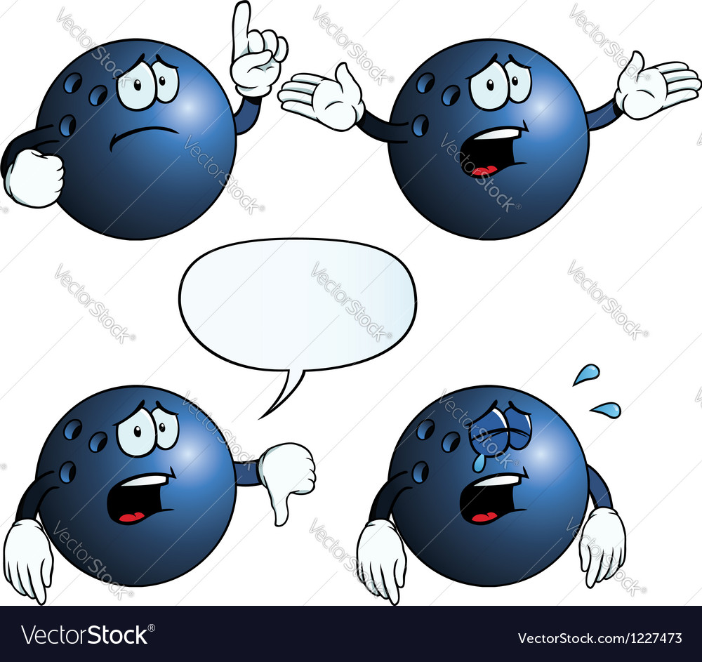 Crying bowling ball set vector | Price: 1 Credit (USD $1)