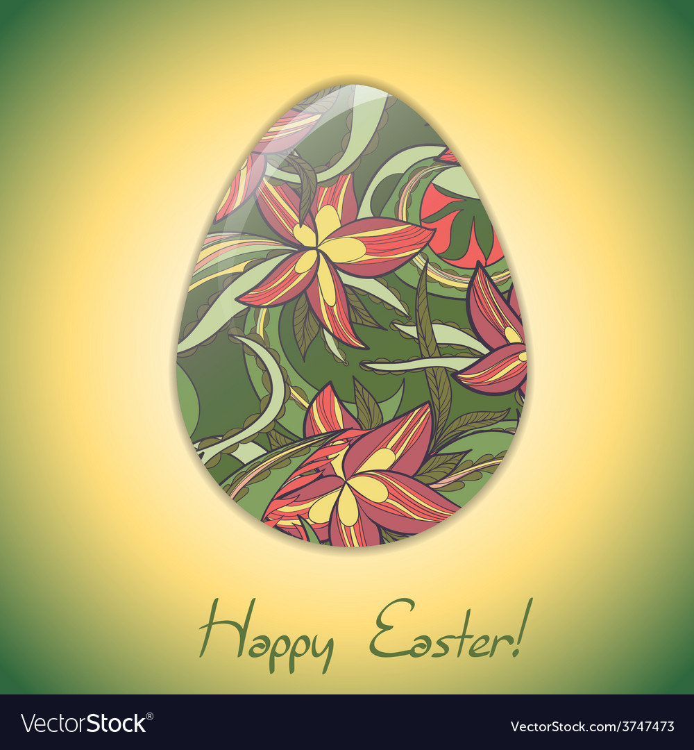 Easter egg greeting card with abstract hand drawn vector | Price: 1 Credit (USD $1)