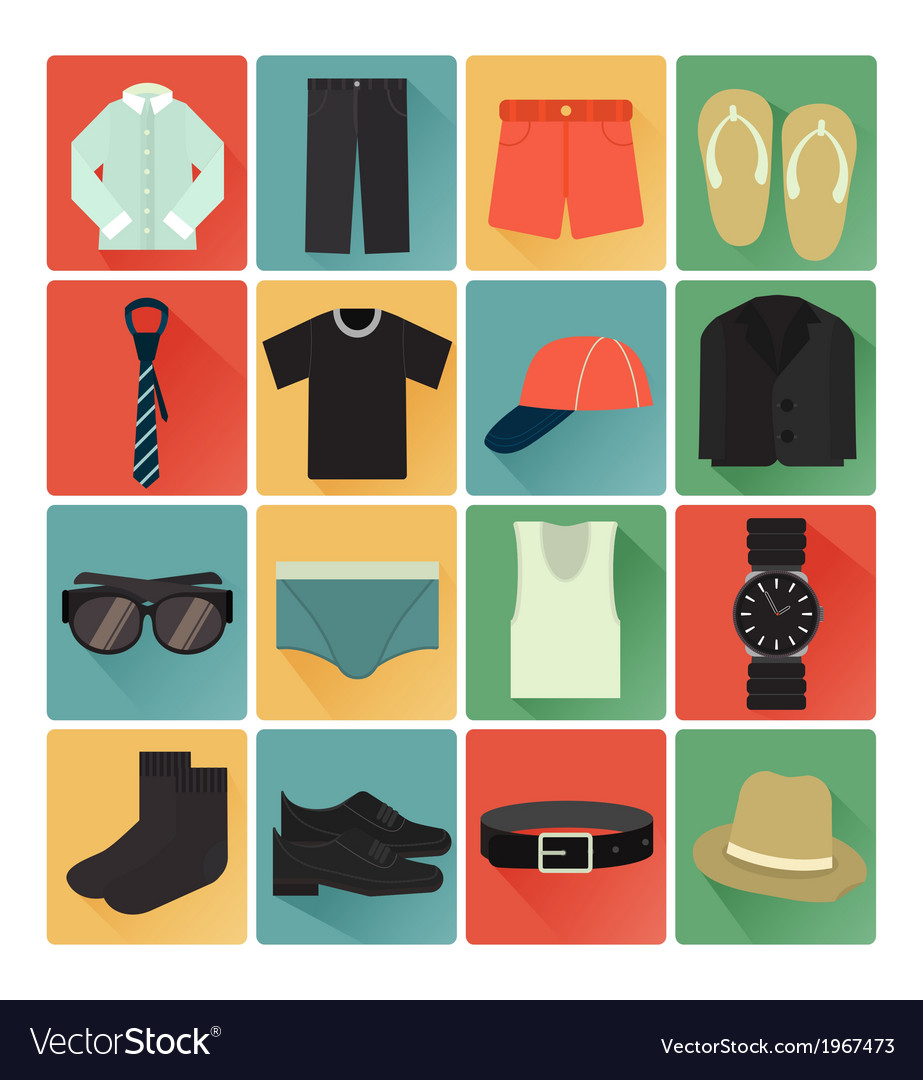 Flat icons costume gentleman vector | Price: 1 Credit (USD $1)