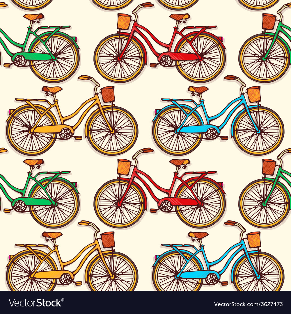 Seamless pattern with vintage bicycles vector | Price: 1 Credit (USD $1)