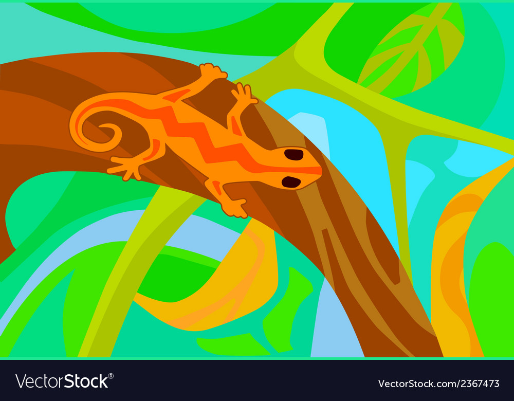 Stylized lizard on a branch vector | Price: 1 Credit (USD $1)