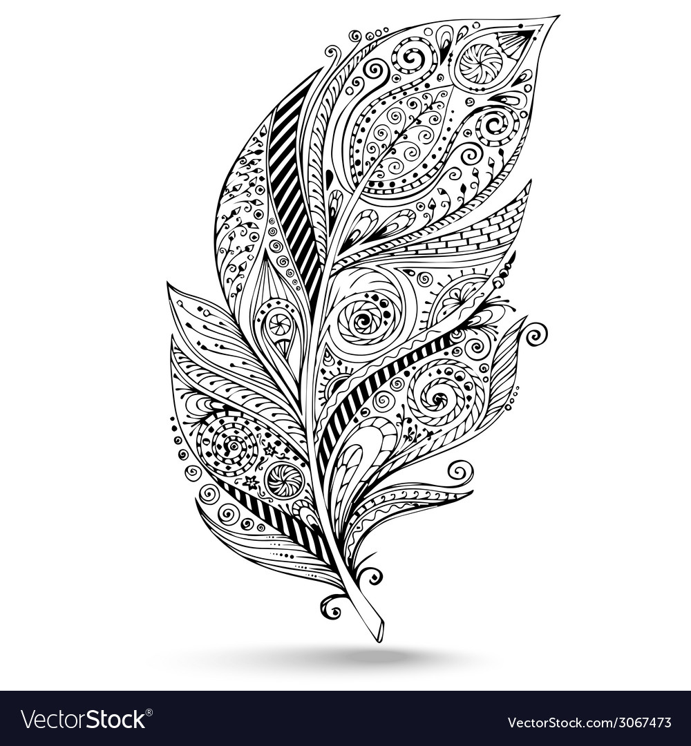 Tribal feather series of doodle feather vector | Price: 1 Credit (USD $1)