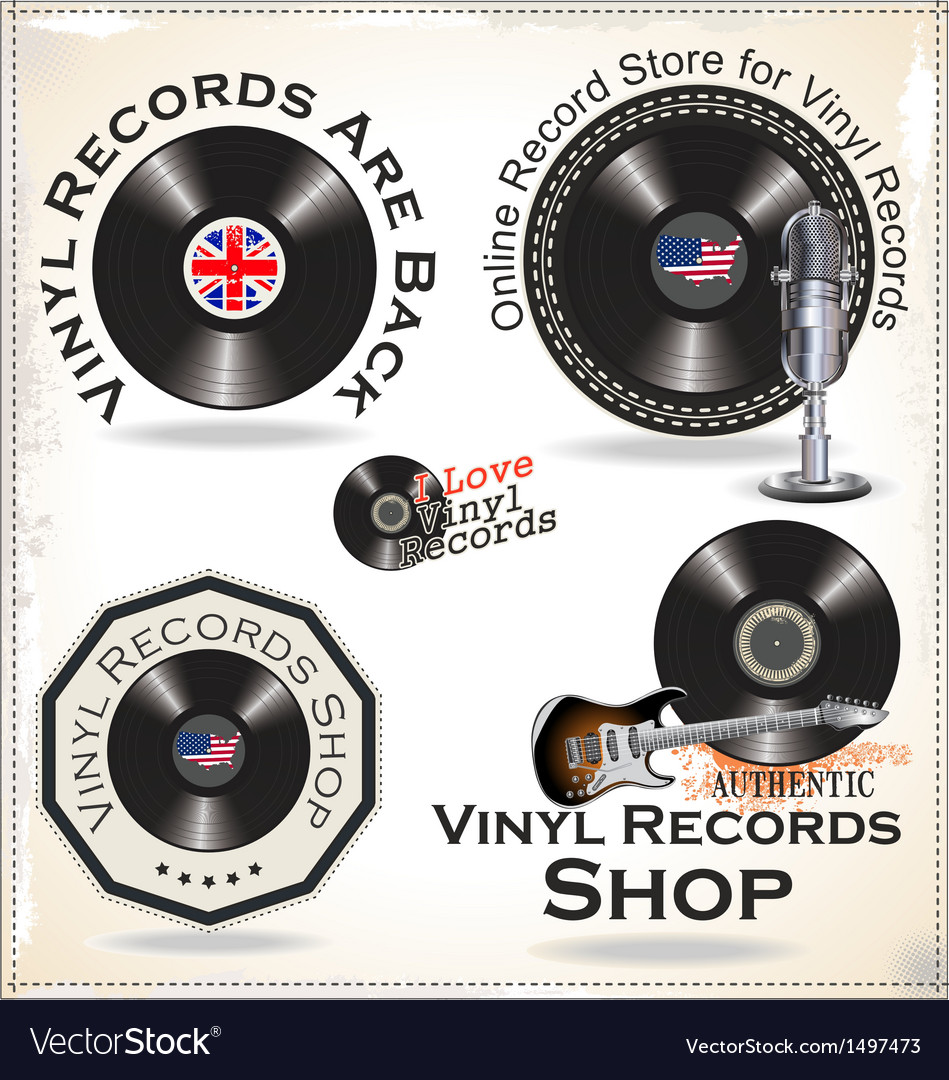 Vinyl records labels vector | Price: 3 Credit (USD $3)