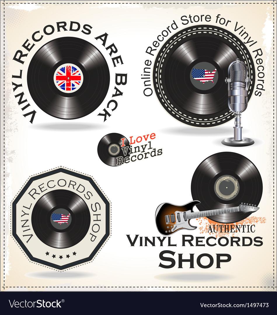 Vinyl records labels vector | Price: 3 Credit (USD $3)
