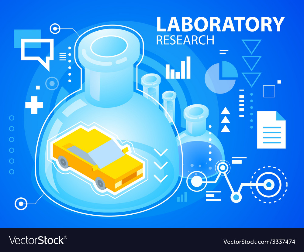 Bright laboratory research and car on blue b vector | Price: 3 Credit (USD $3)