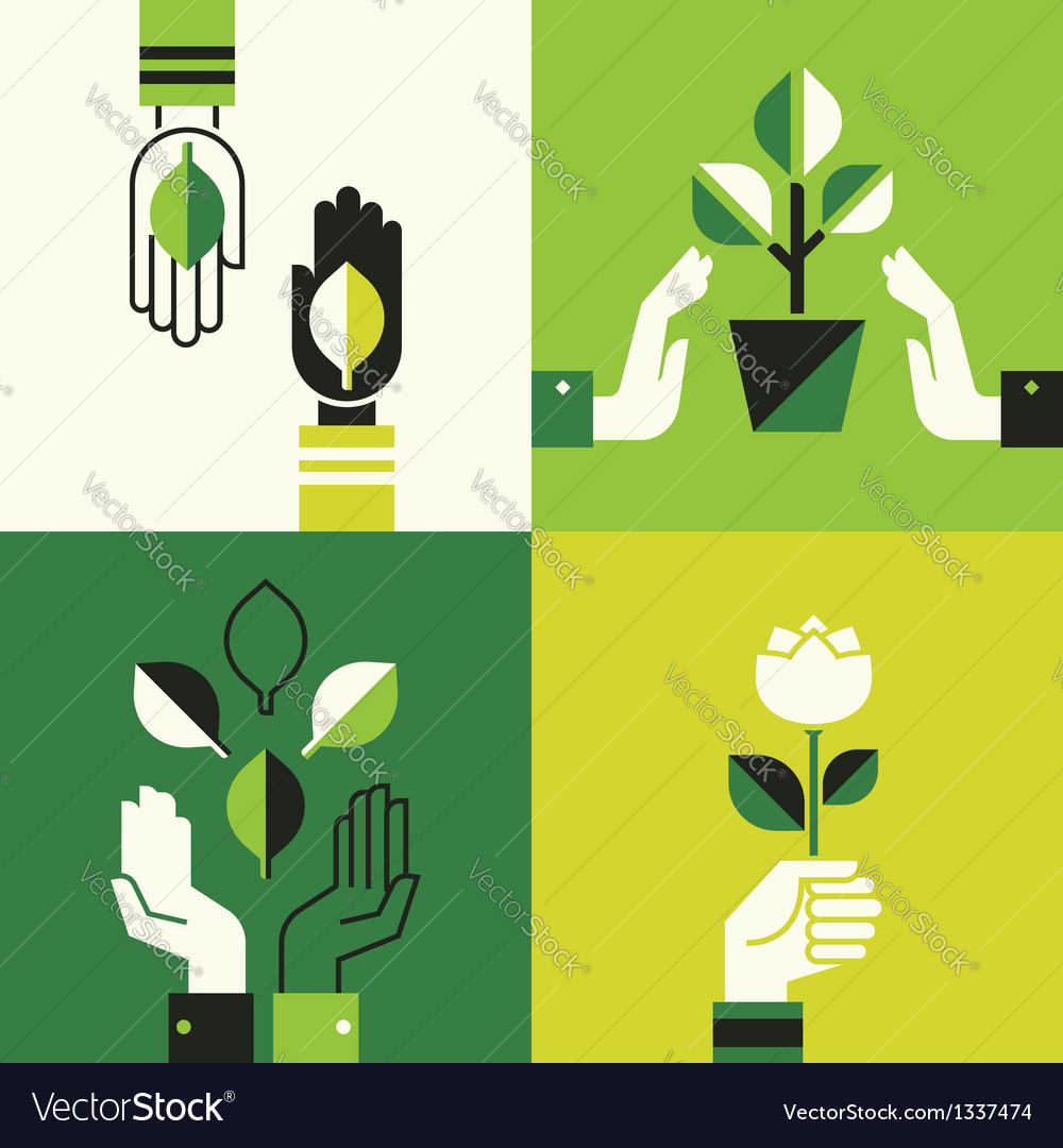 Caring hands holding leaves vector | Price: 1 Credit (USD $1)