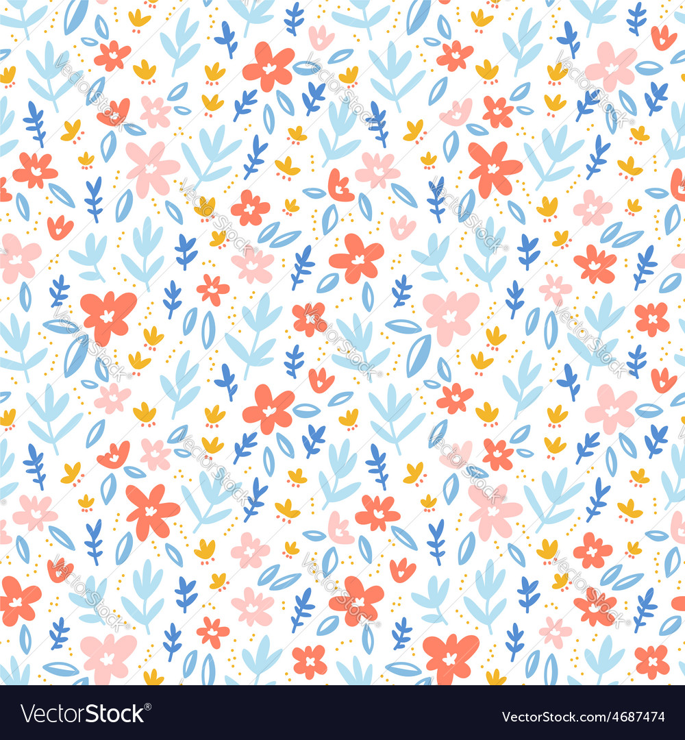 Colorful flowers on white background seamless vector | Price: 1 Credit (USD $1)