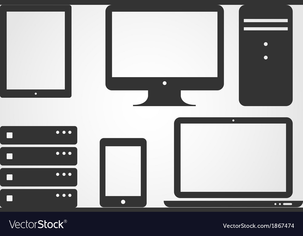 Electronic device icons flat design vector | Price: 1 Credit (USD $1)
