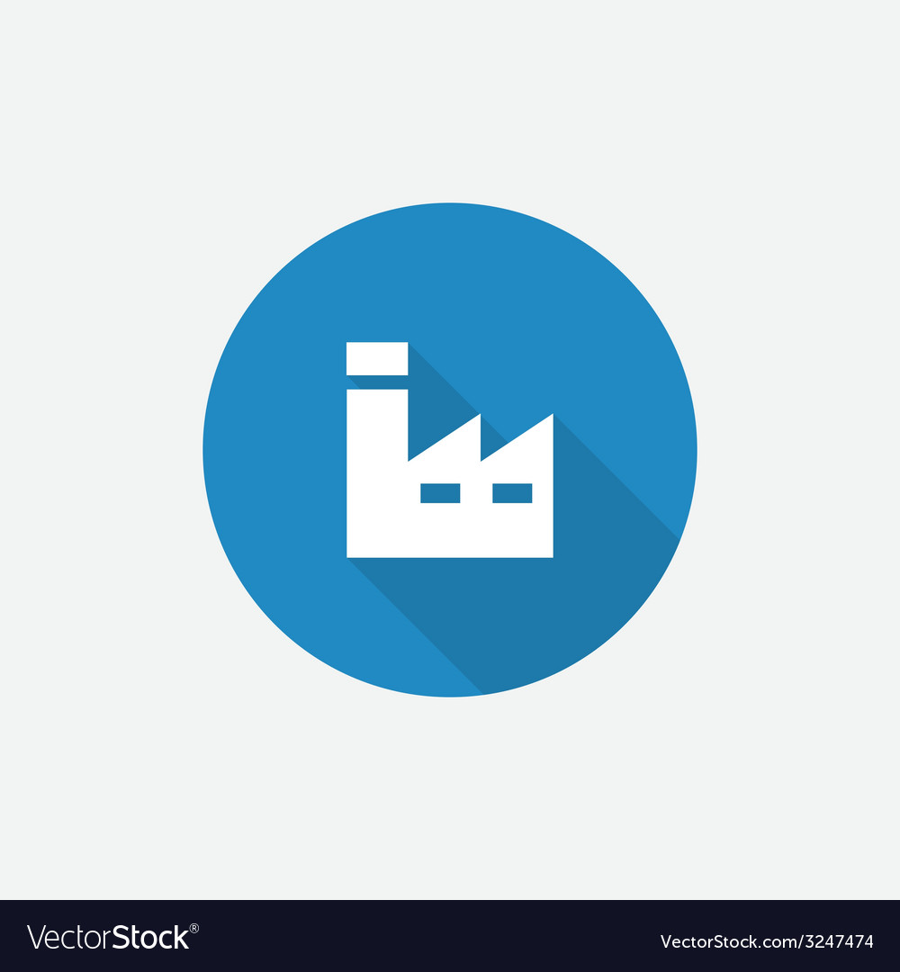 Factory flat blue simple icon with long shadow vector | Price: 1 Credit (USD $1)