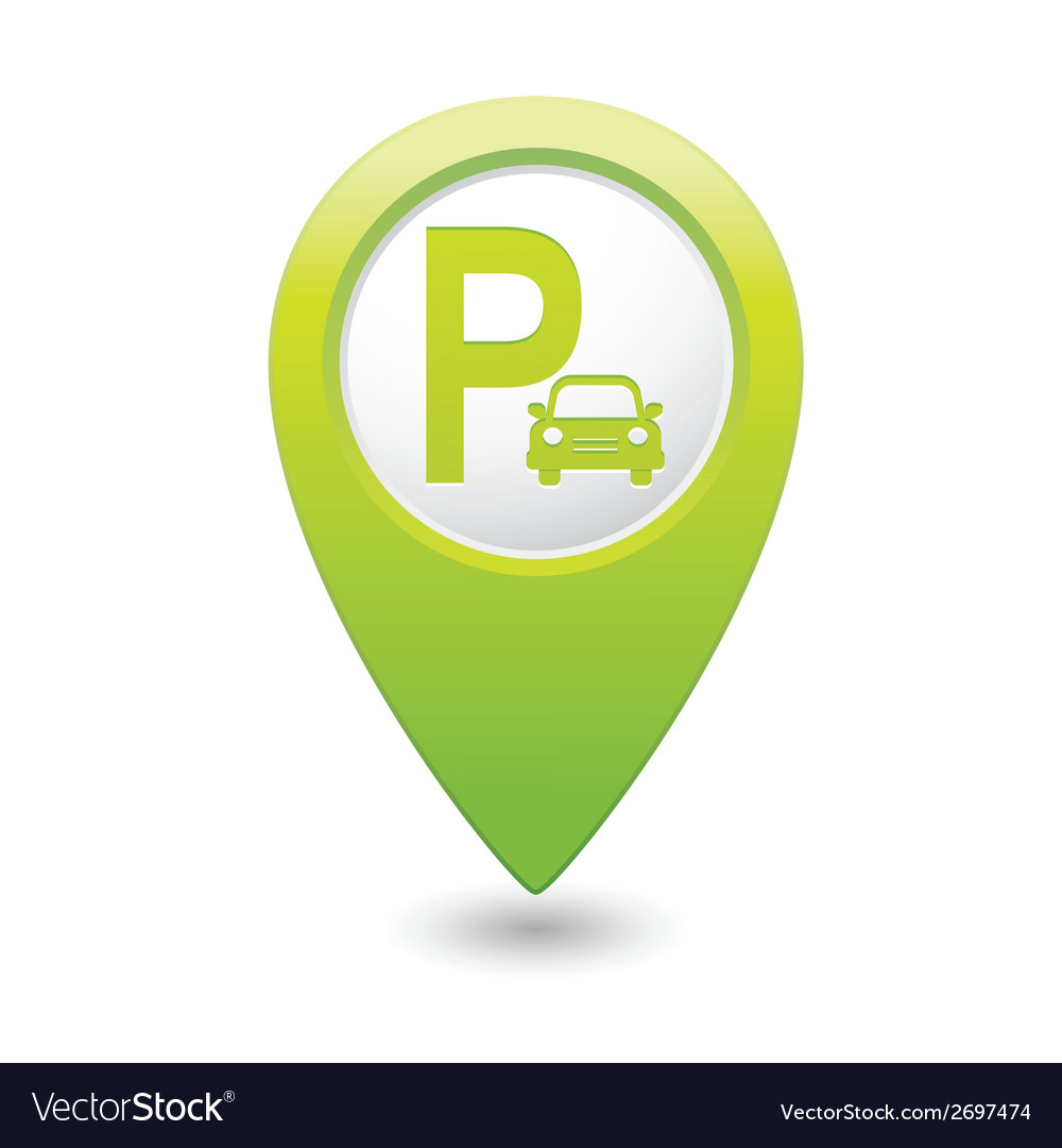 Parking icon map pointer green vector | Price: 1 Credit (USD $1)