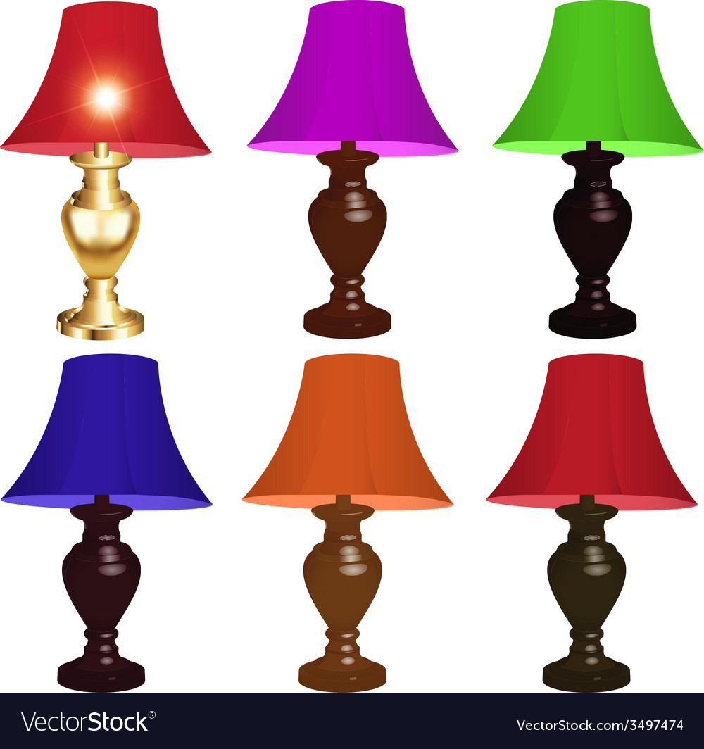 Set of colored table lamps vector | Price: 1 Credit (USD $1)