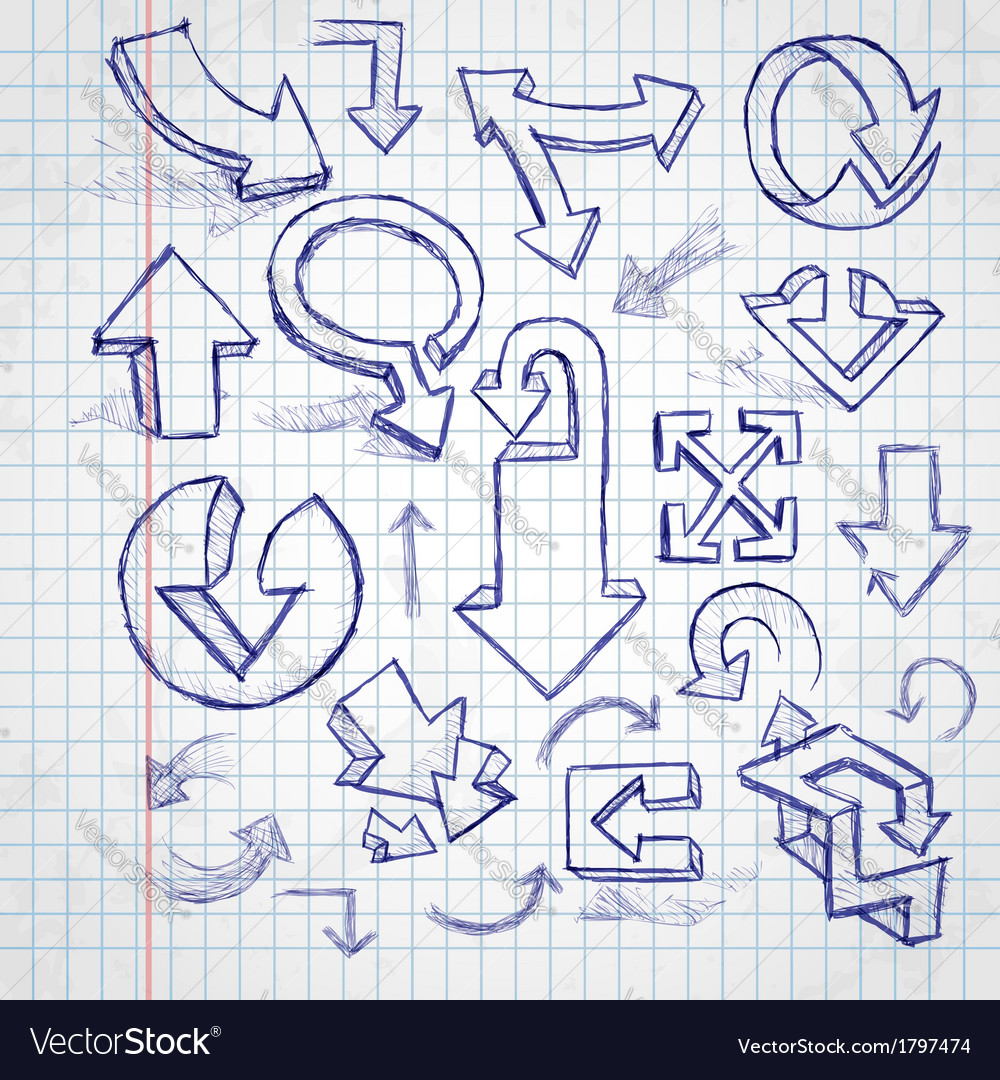 Set of hand drawn doodle arrows vector | Price: 1 Credit (USD $1)