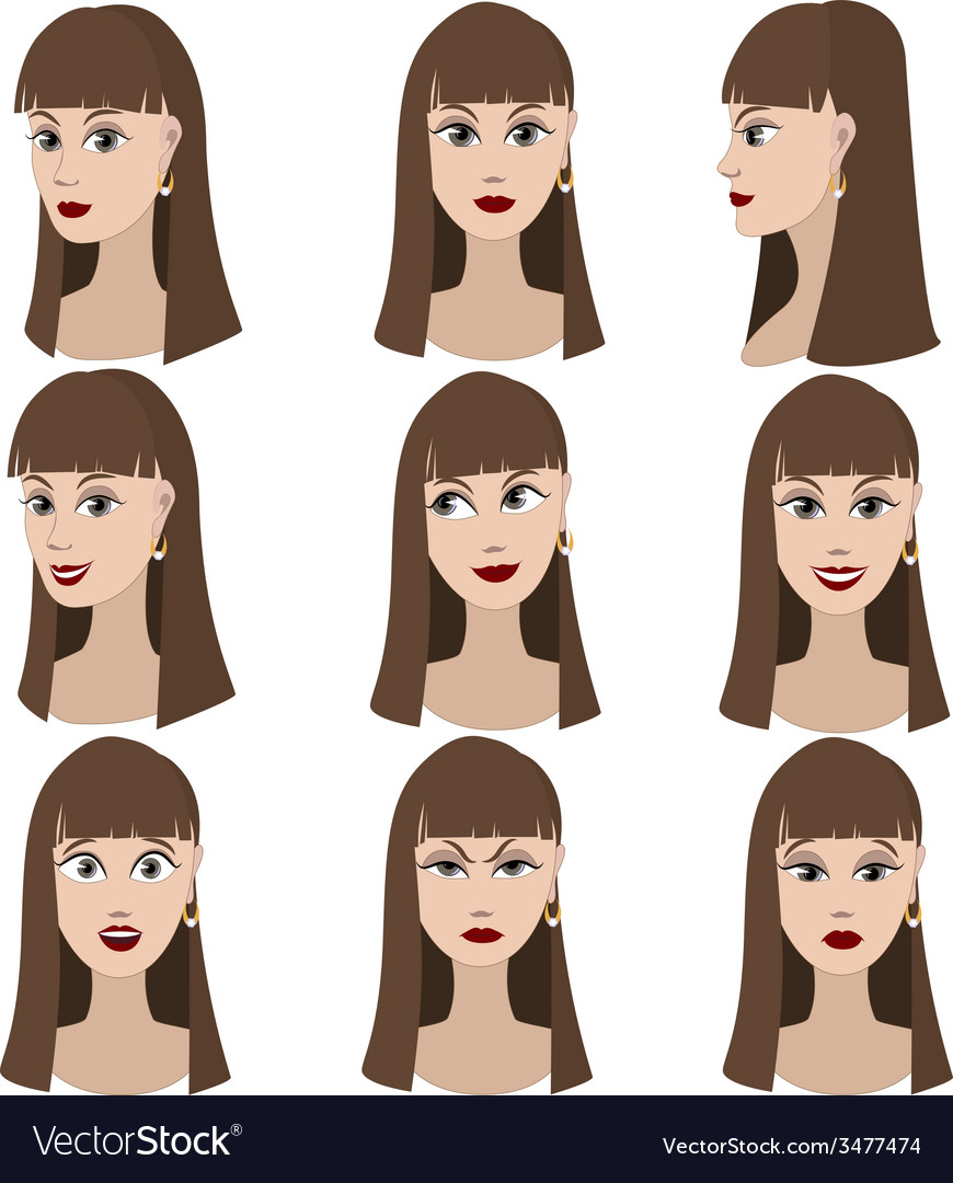 Set of variation of emotions of the same girl vector | Price: 1 Credit (USD $1)