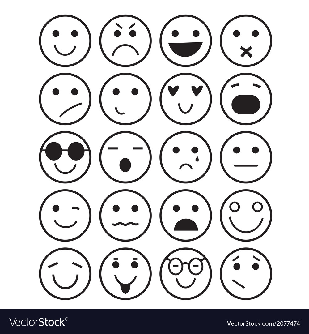 Smilies icons different emotions vector | Price: 1 Credit (USD $1)