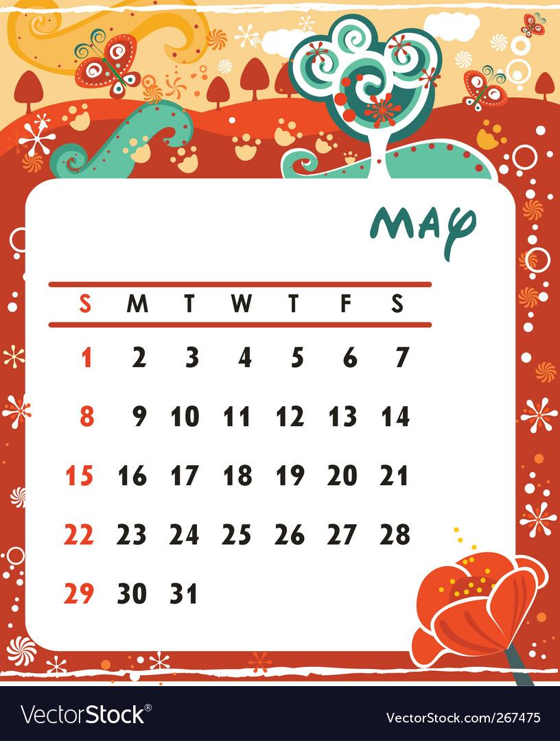 Calendar may vector | Price: 1 Credit (USD $1)
