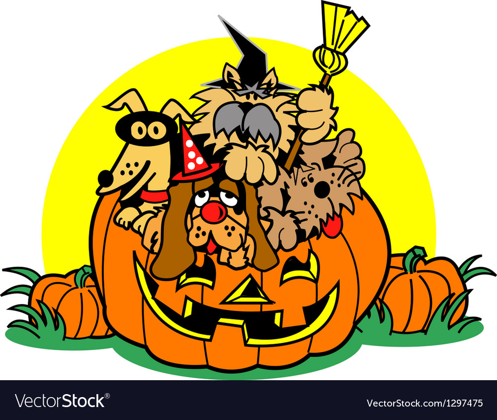 Dogs in a pumpkin vector | Price: 1 Credit (USD $1)